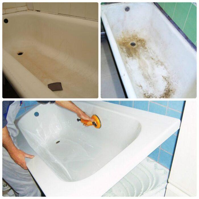 Как отмыть ванну от желтого налета в домашних условиях