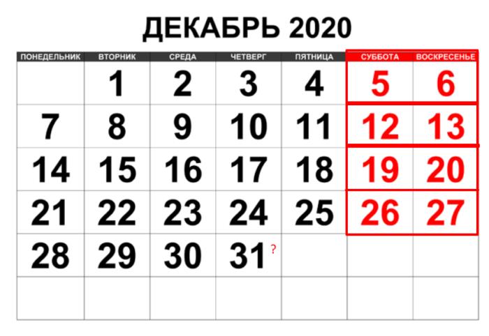 Как отдыхаем в декабре 2020 года